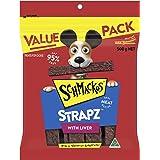 Schmackos Strapz Liver Flavour Dog Treats, Adult, 2kg Value Pack, (4 x 500g Bags)