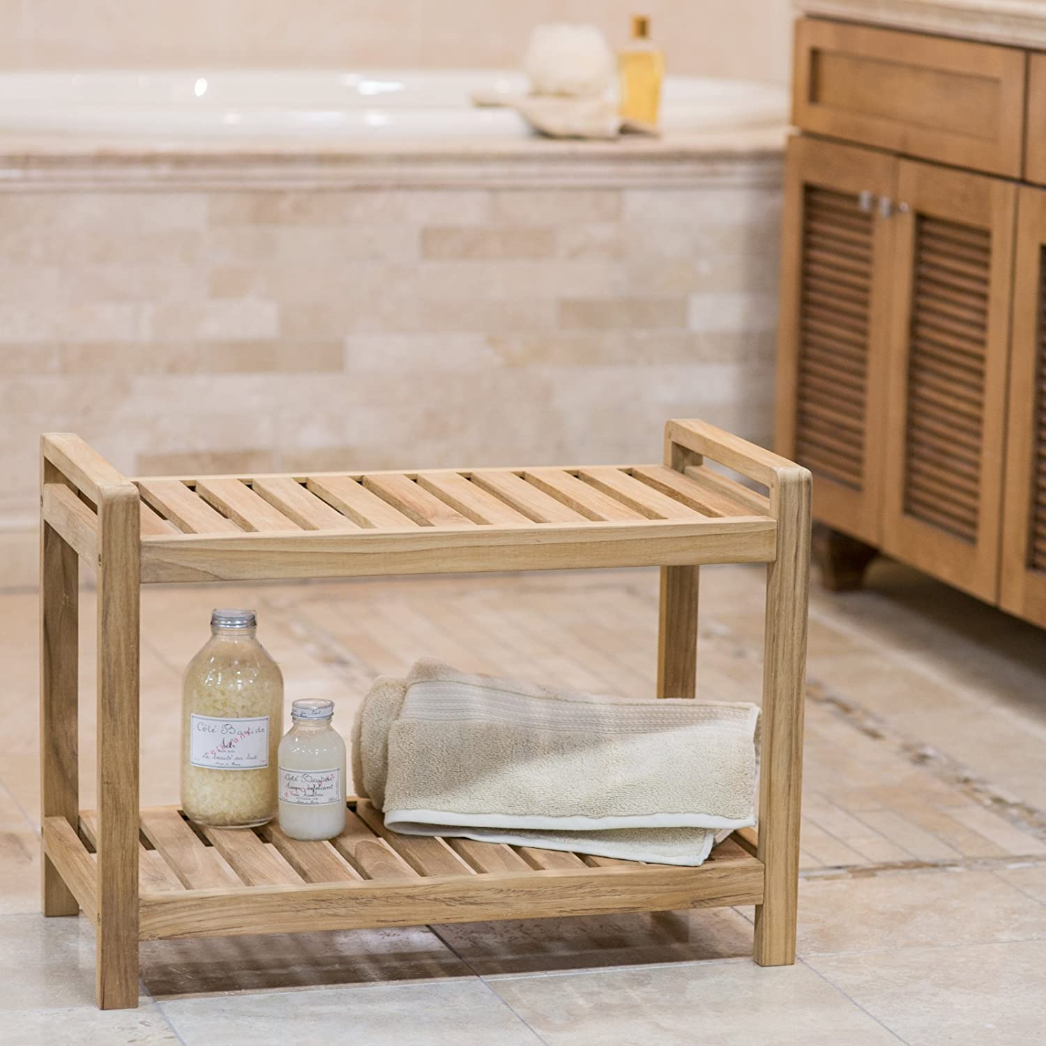 Amazon.com: Belham Living Teak Shower Bench: Home & Kitchen