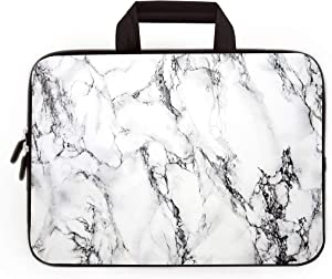 14 15 15.4 15.6 inch Laptop Handle Bag Computer Protect Case Pouch Holder Notebook Sleeve Neoprene Cover Soft Carrying Travel Case for Dell Lenovo Toshiba HP Chromebook ASUS Acer (White Marble)