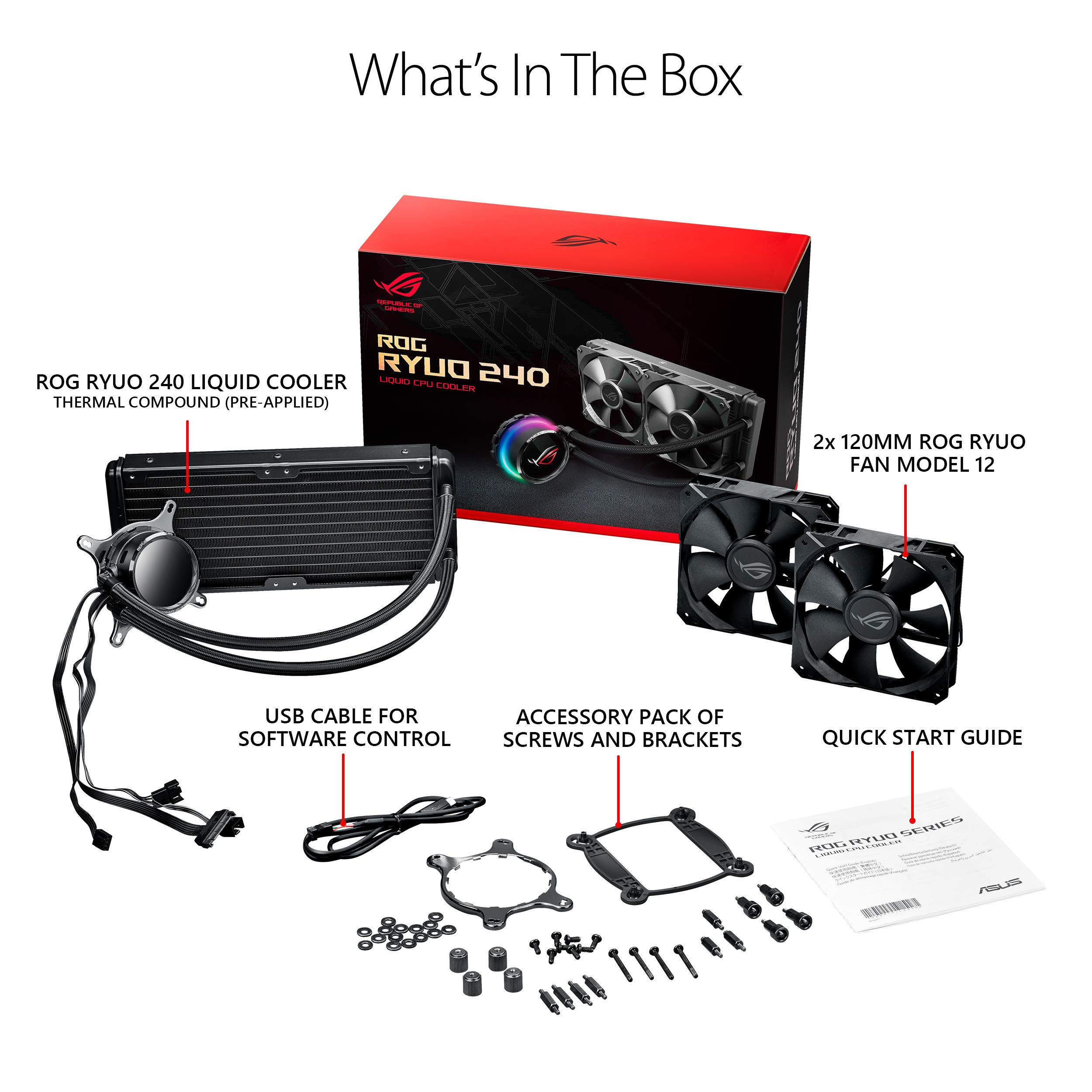ASUS ROG RYUO 240 RGB AIO Liquid CPU Cooler 240mm Radiator Dual 120mm 4-Pin PWM Fan with OLED Panel & Fan Control 1.77'' by ASUS (Image #5)