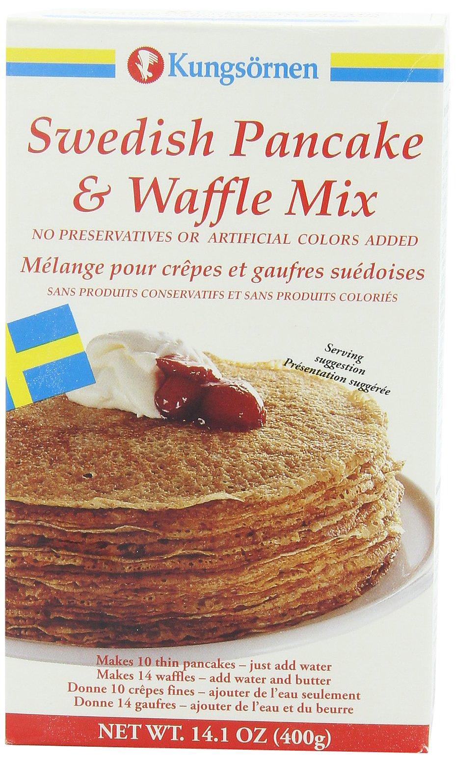 Kungsornen Swedish Pancake & Waffle Mix, 14.1-Ounce Boxes (Pack of 6)