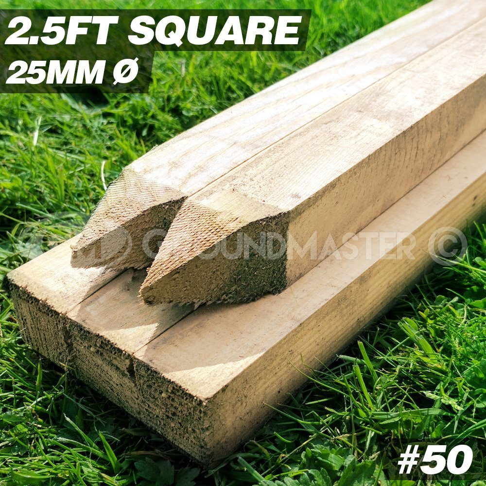 GroundMaster Stakes 2.5ft x 25mm Square Wooden Timber Tree Post Treated Support Kits 5