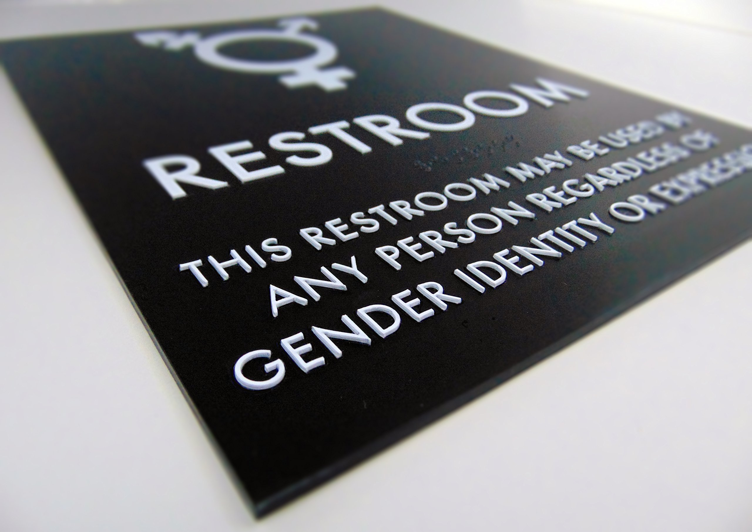 Transgender Symbol Restroom Sign 8'' x 10'' with Braille - ADA Compliant (Black/White)