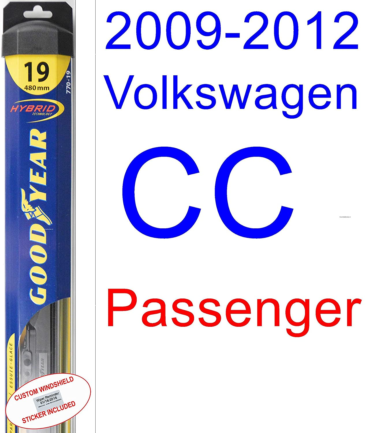 Amazon.com: 2009-2012 Volkswagen CC Wiper Blade (Passenger) (Goodyear Wiper Blades-Hybrid) (2010,2011): Automotive