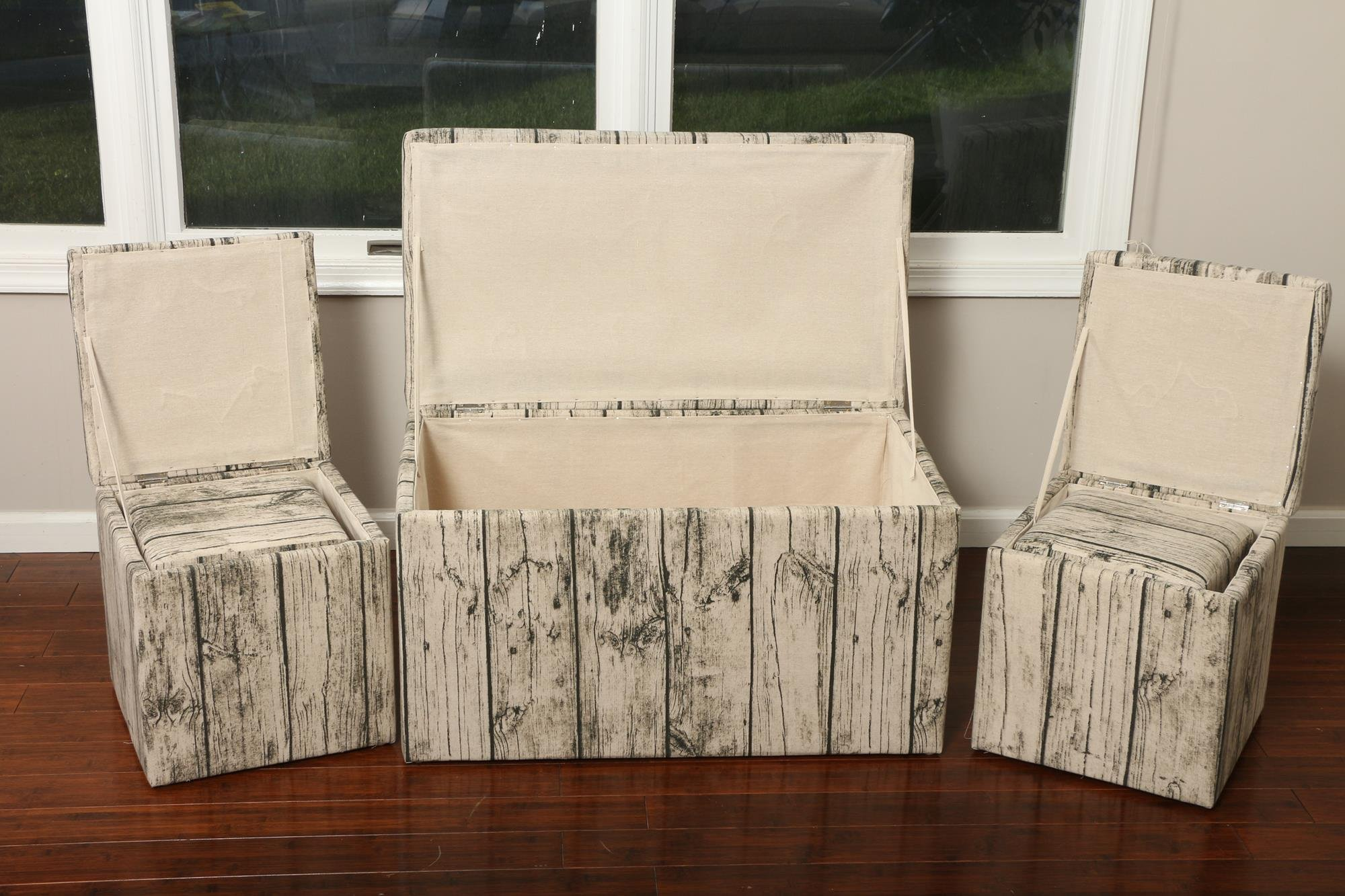 Oliver and Smith  Cloth Storage Ottoman With - 3 Ottomans & 2 Stools - 33'' x 17.5'' x 18.5'' - 1343 Barn Door Wood by Smith & Oliver (Image #3)