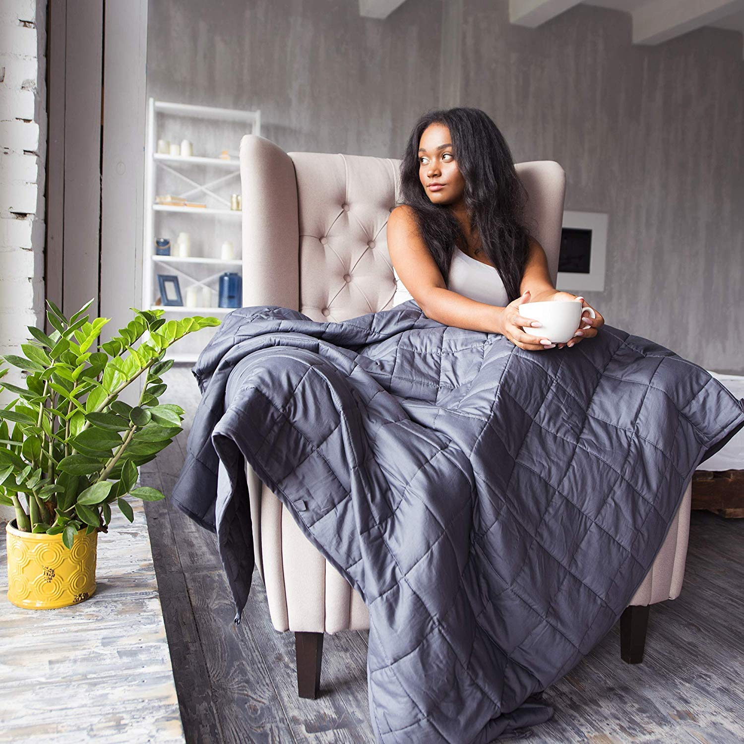 COCOBELA Weighted Blanket for Adult and Kids, 15 lbs 60''x 80'', Breathable Cotton and Premium Glass Beads (Dark Grey) by COCOBELA (Image #7)
