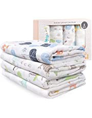 Muslin Swaddle Blanket | 70% Bamboo 30% Cotton Baby Receiving Blanket Swaddle Wrap for Newborns with Gift Box | 4 Packs 47 X 47 inch Muslin Towel | Cactus, Fox, Whale, Dinosaur