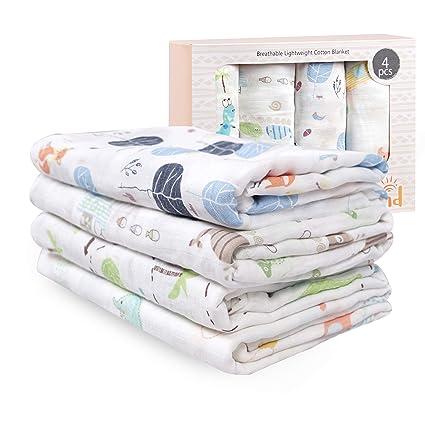 "4 x Baby Nursing Wrap swaddling cotton Receiving Blankets Pack 30 x 30/"" boys"