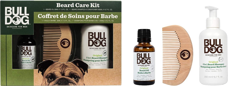 BullDog Kit para el cuidado para la barba color blanco–Lote de 2