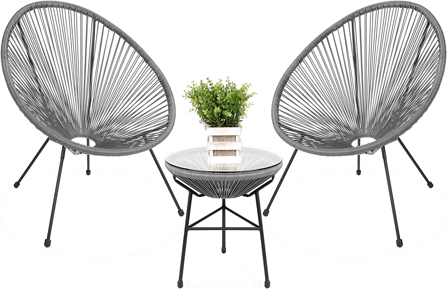 Best Choice Products 3-Piece Outdoor Acapulco All-Weather Patio Conversation Bistro Set w/Plastic Rope, Glass Top Table and 2 Chairs - Gray
