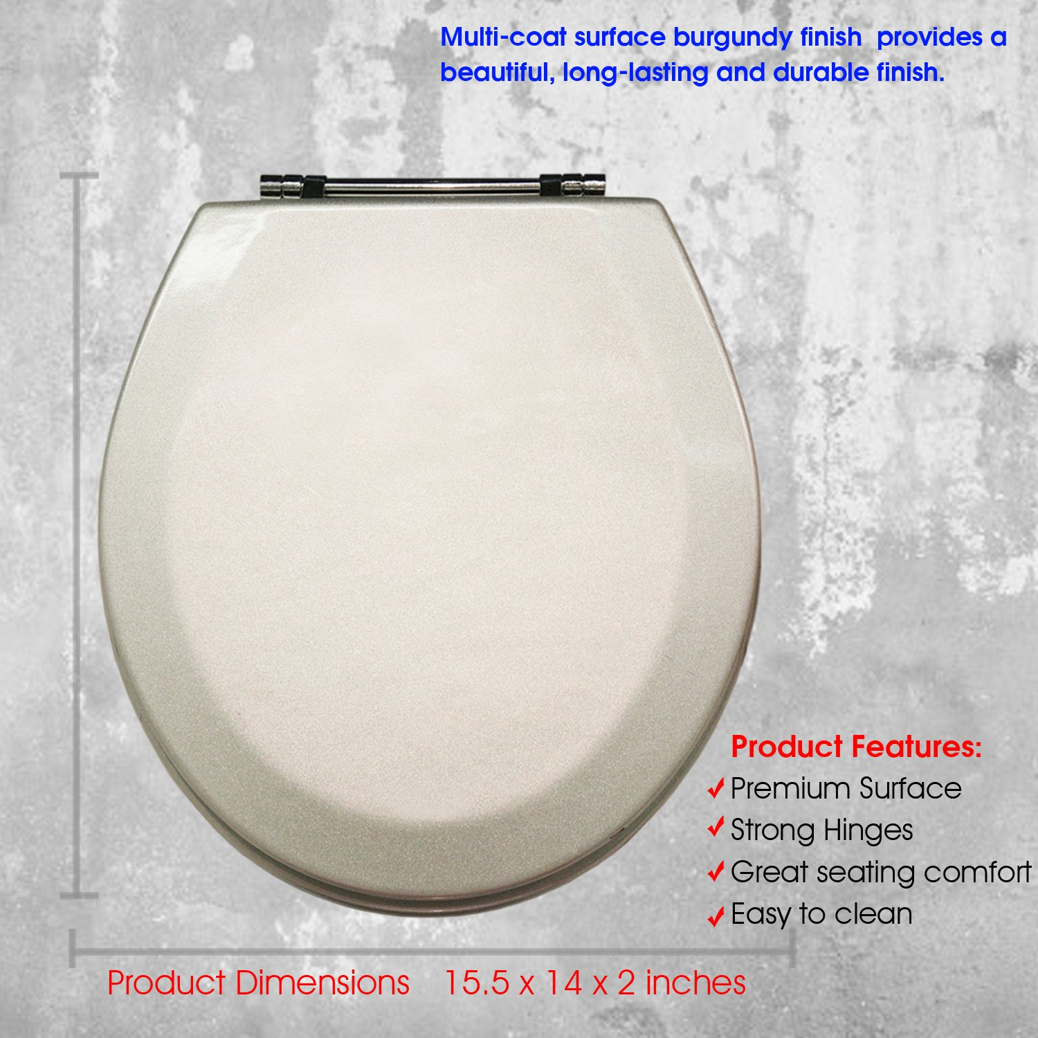 Water and Stain-resistant Finish with Chrome Hinges MDF-302 Silver American Trading House Inc Trimmer Premium Molded Wood Toilet Seats With Multi-Coat Surface Finish