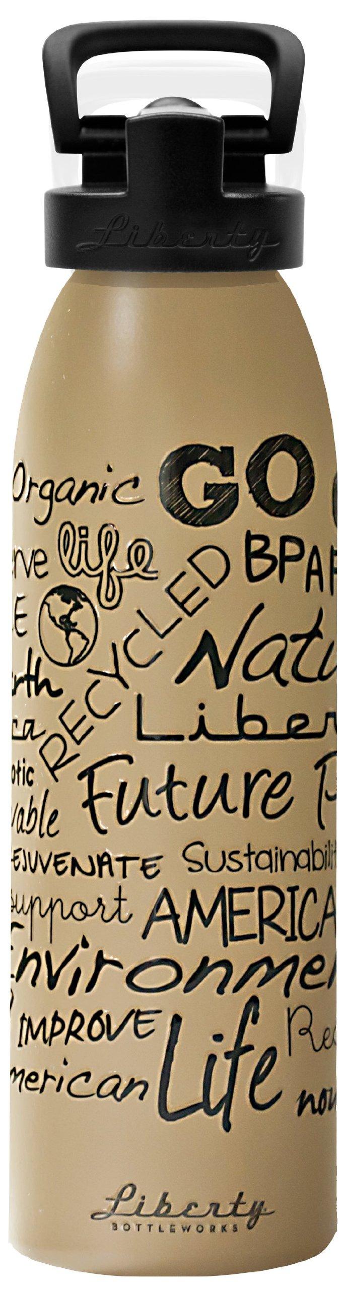 Liberty Bottleworks Strive Aluminum Water Bottle, Made in USA, 24oz, Desert, Sport Cap