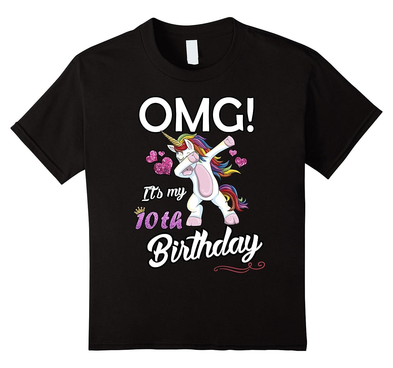 10th Birthday Unicorn Dabbing T Shirt-Awarplus