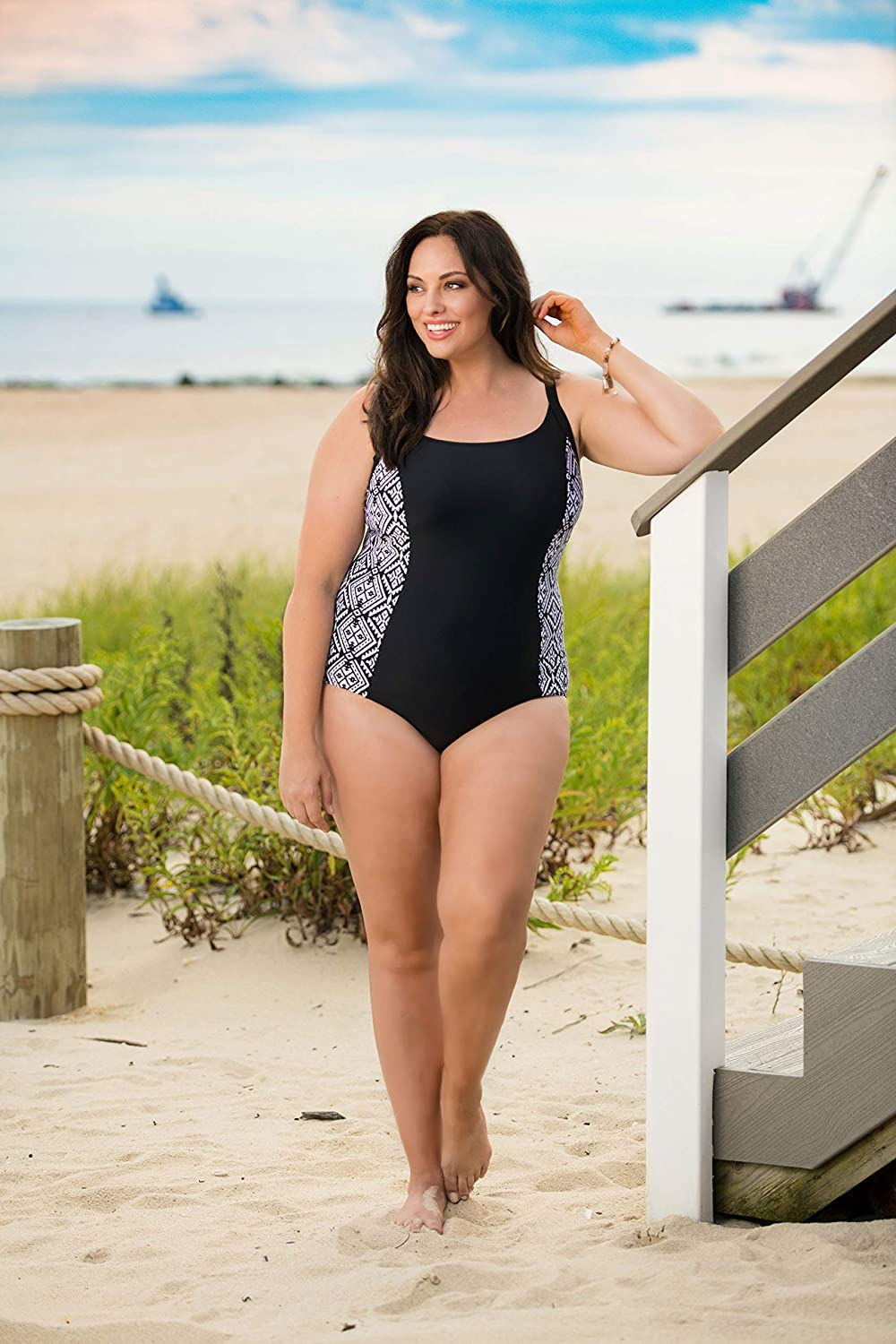 Caribbean Sand Panel Plus Size One Piece Swimsuit for Women with Tummy Control