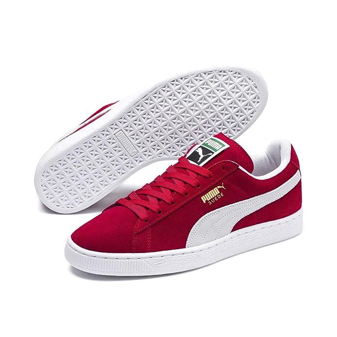 Puma Suede Schuhe Erwachsene Damen Herren rot (Team Reagal Red) m weißem Streifen