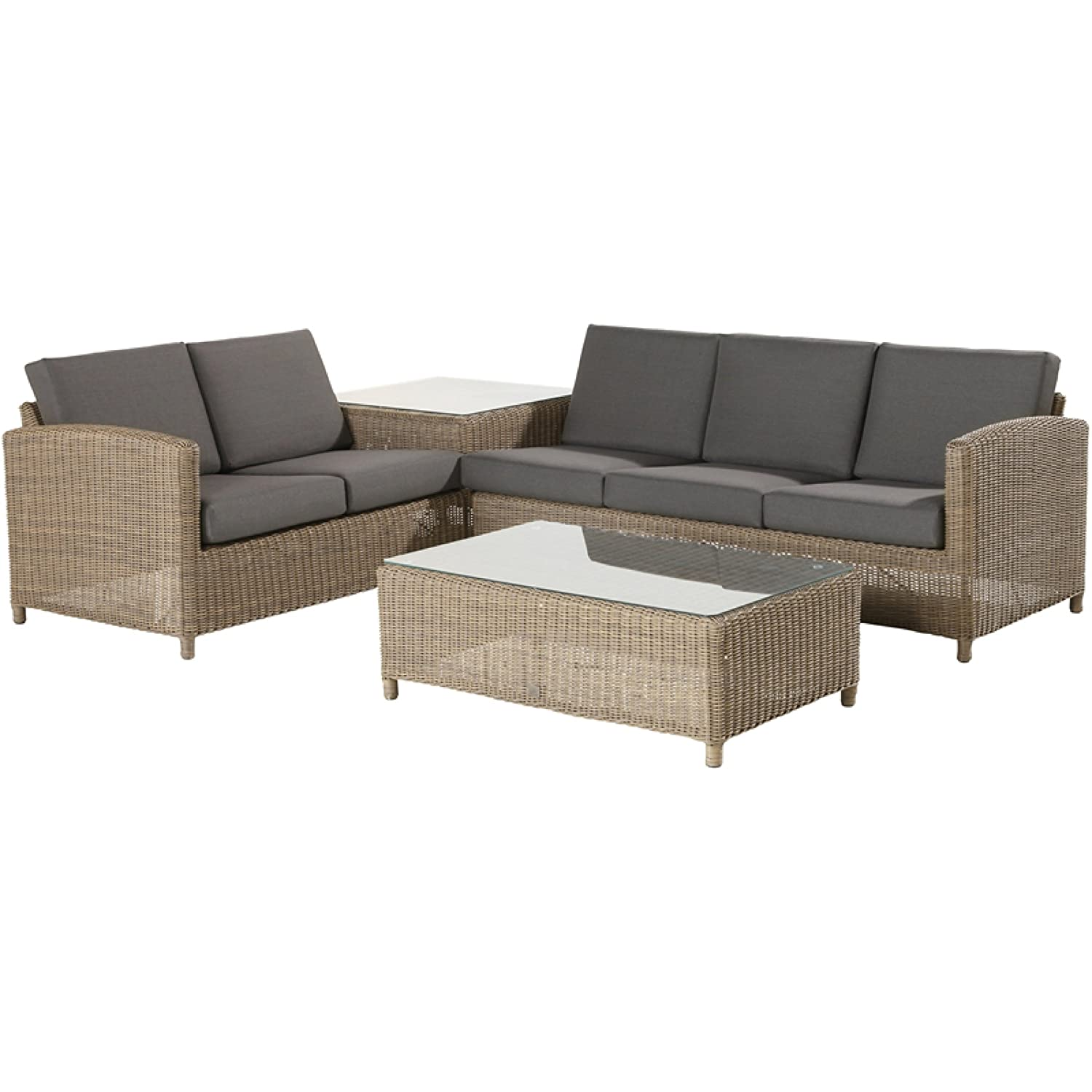 4Seasons Outdoor Lodge 3-teilige Loungegruppe mit Tischen Polyrattan Pure