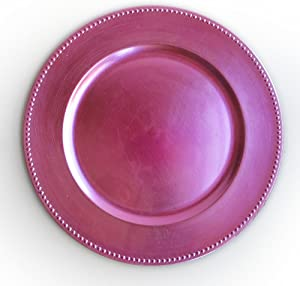 ChargeIt by Jay Beaded Charger Large Decorative Melamine Service Plate for Home & Professional Fine Dining-for Catering Events, Dinner Parties, Weddings, 13