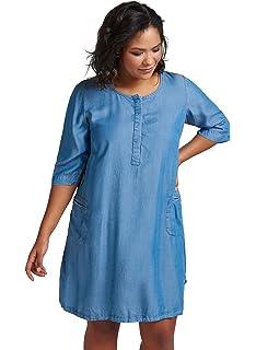 e8e64ed6550aff Zizzi Damen Jeanskleid 3/4 Arm Rundhals Jeans Kleid Blau Große Größen 42-56