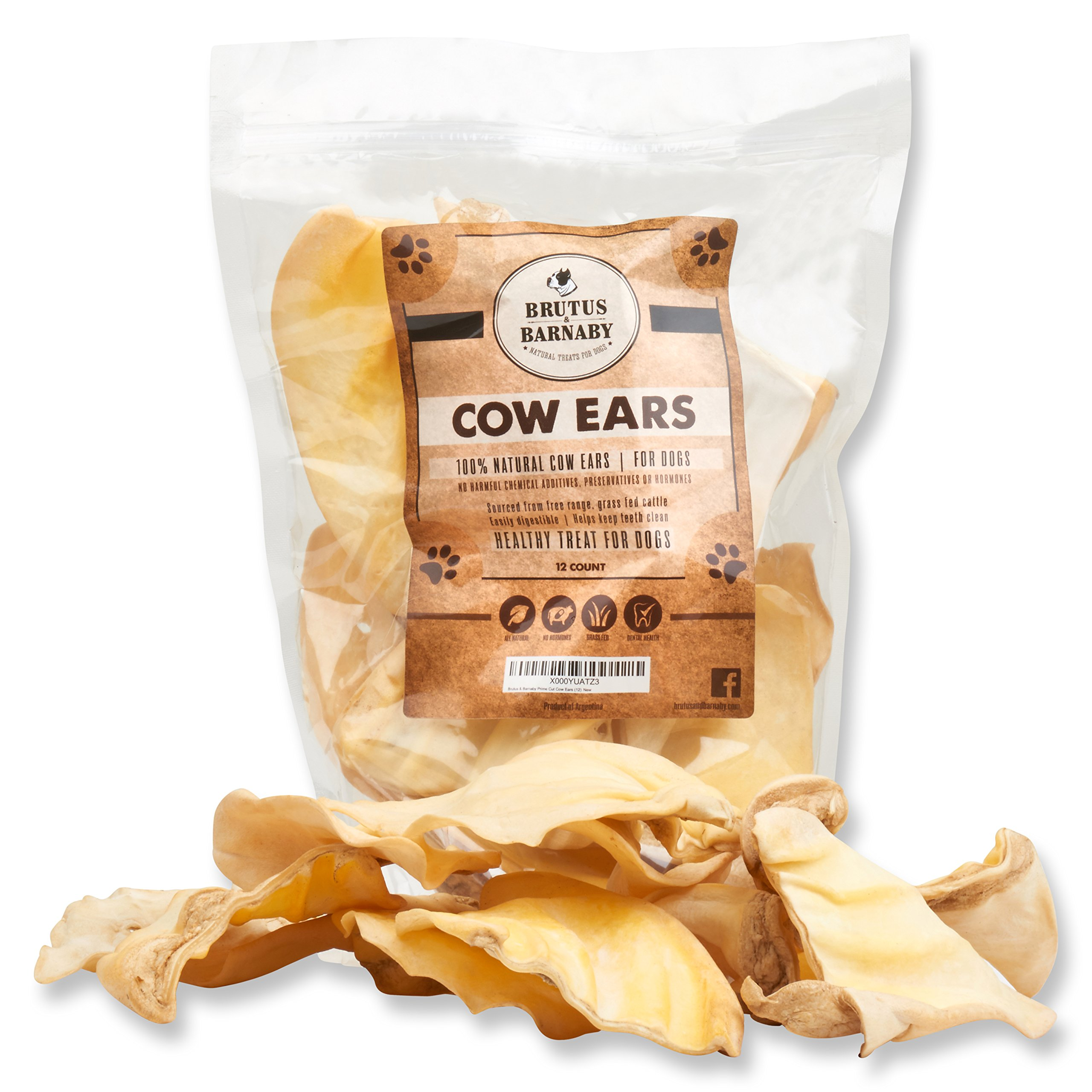 All Natural, Whole Cow Ears for Dogs by Brutus & Barnaby, Harvested from Free Range, No Hormone's Added, Grass Fed Cattle, USDA/FDA Approved