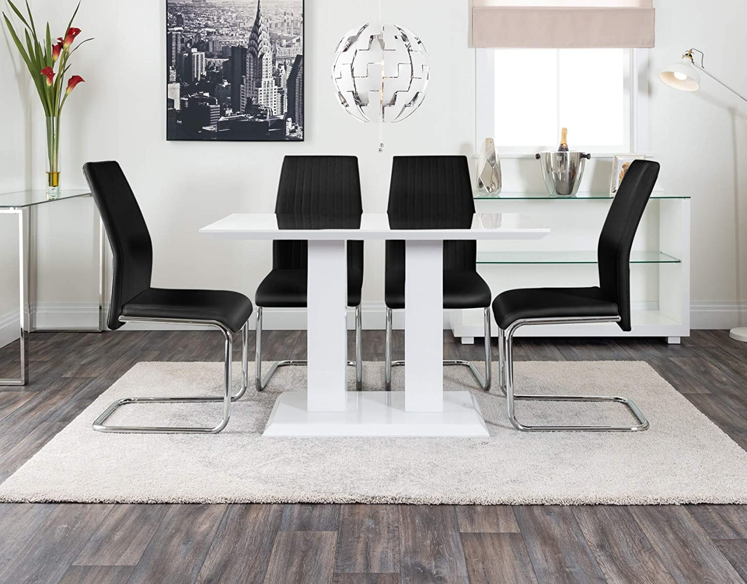 Tremendous Furniturebox Uk Imperia Modern White High Gloss Dining Table And 4 Lorenzo Chrome Leather Dining Chairs Set White Table Black Lorenzo Chairs Ncnpc Chair Design For Home Ncnpcorg