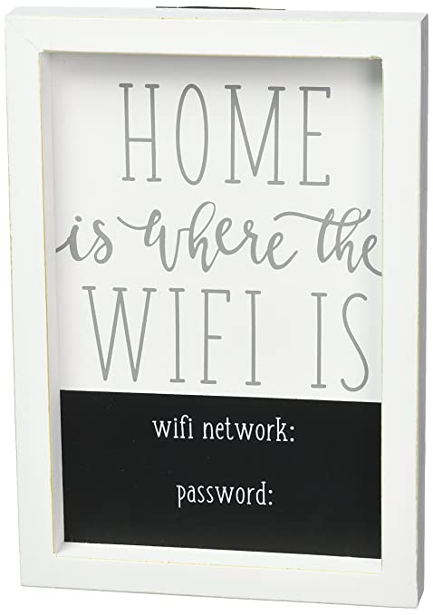 Amazon.com: mud pie Home es donde el wifi placa decoración ...