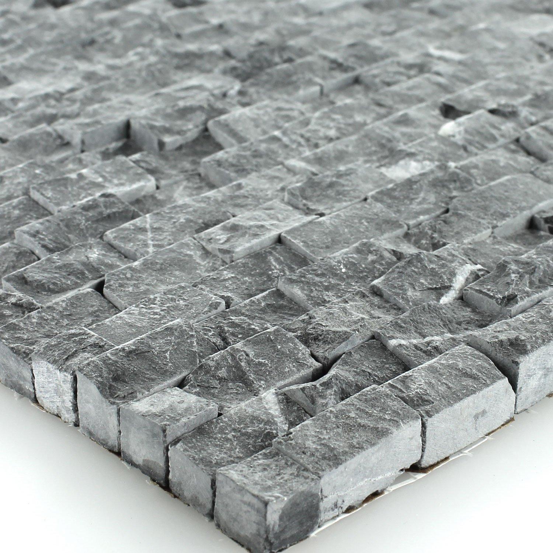 Naturstein Wand Mosaik 3D Brickstones Verblender Anthrazit Amazonde Baumarkt