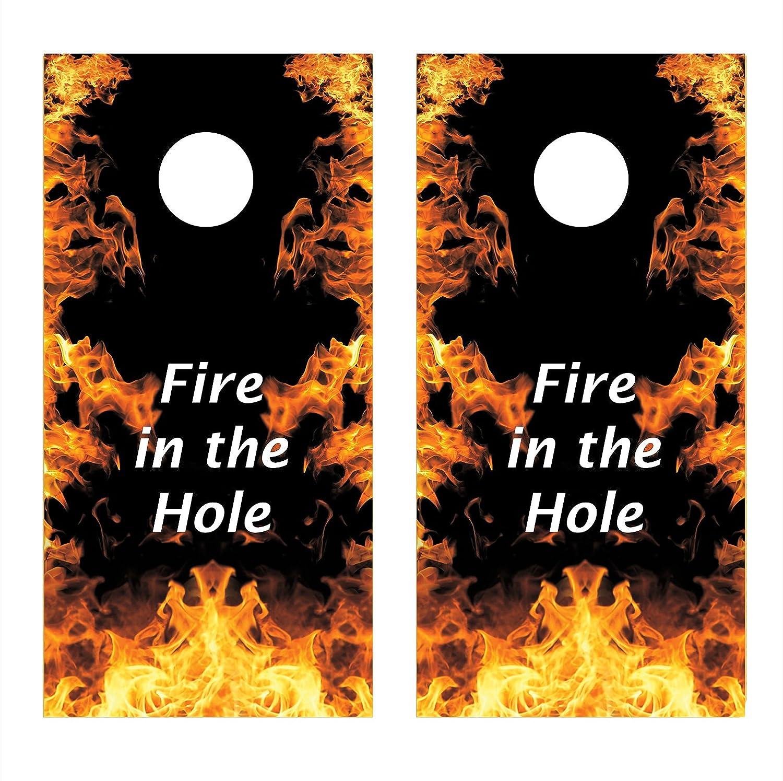 Let 's印刷Big Fire in the Hole Cornholeボードデカールラップ ラミネート