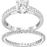 SWAROVSKI Women's Attract Ring Set, White, Rhodium plated