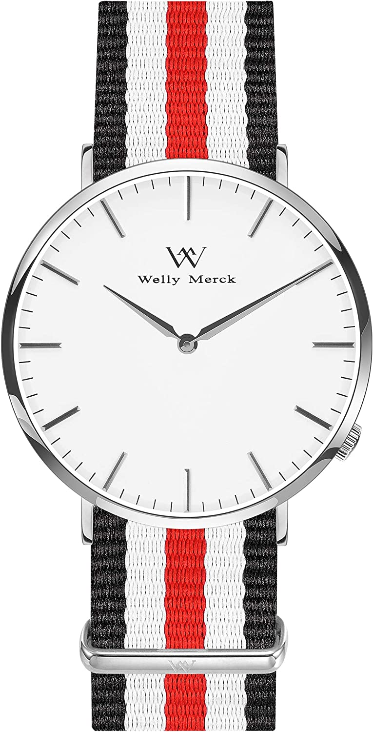 Welly Merck Mens Simple Watch Minimalistic Watch Swiss Quartz Movement Sapphire Crystal Ultra Thin Analog Wrist Watch Stainless Steel with Interchangeable Nylon Strap,5ATM Water Resistant