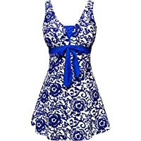Ecupper Women's One Piece Swimdress Shaping Body Swimsuit Floral Plus Size Bathing Suit