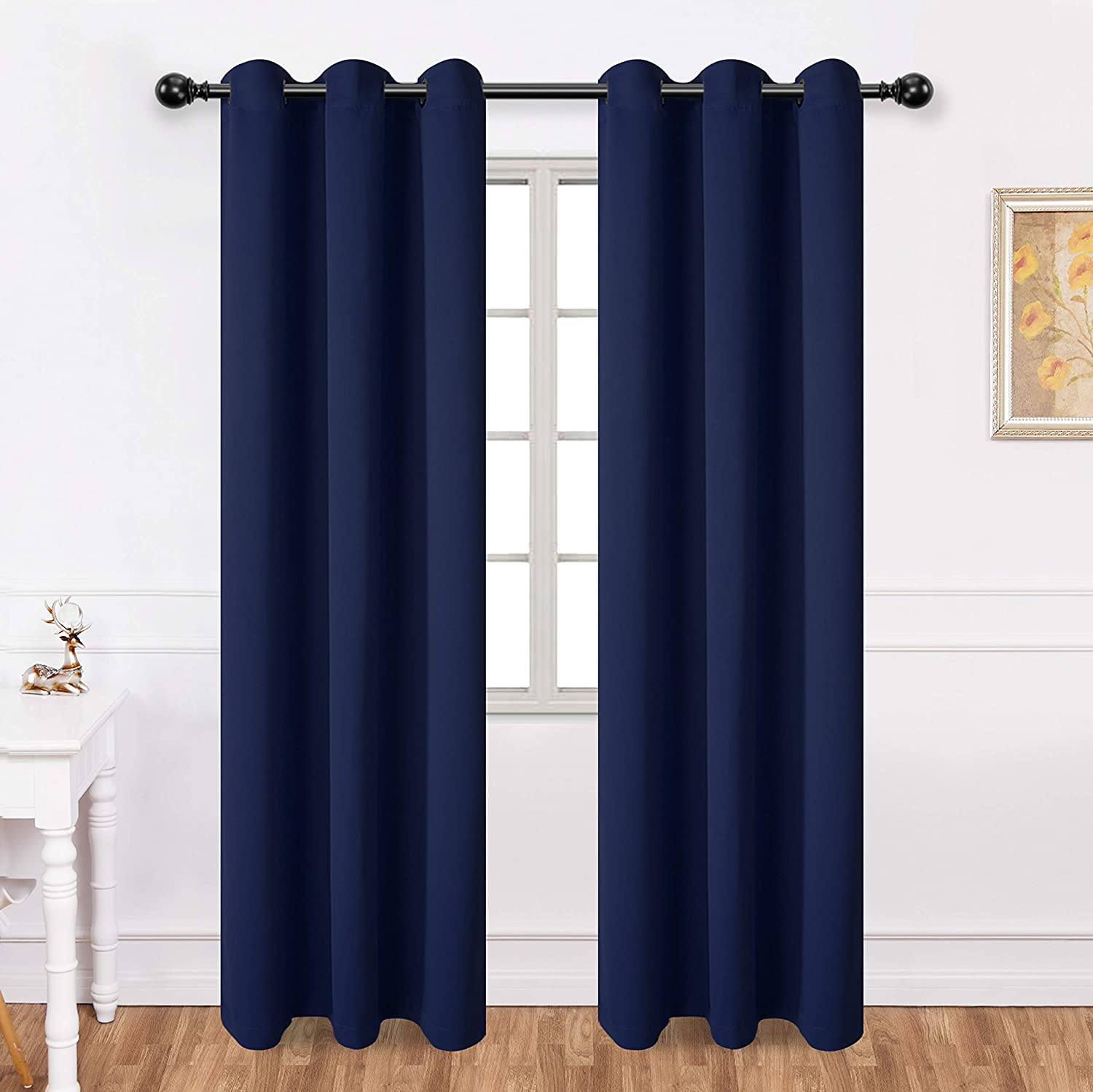 Texlab Blackout Curtains for Bedroom 42 x 84Inch - Grommet Thermal Insulated Summer Heat/Winter Cold, Light Blocking Window Curtain Panels for Living Room, Set of 2 Pieces, Navy Blue