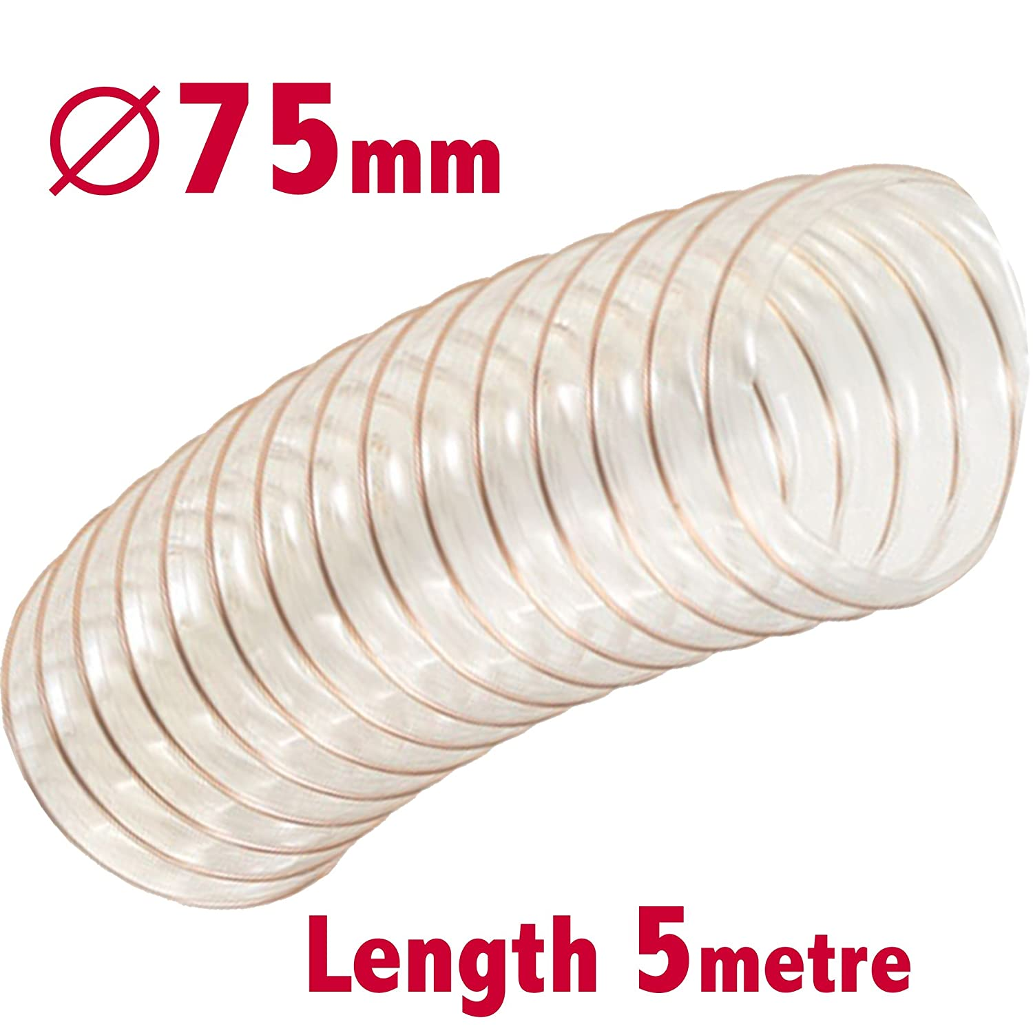 Flexible Clear Dust Extractor Hose 75mm ID x 5m Length Sawdust Fume Extraction Woodworking Ventilation Ducting Pipe PLI