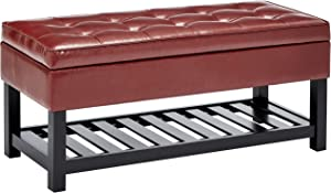 First Hill Damara Wood Storage Ottoman Bench with Open Bottom and Faux-Leather Upholstery, Earthy Red
