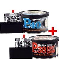 U-Pol David's Isopon P38 250ml Multi-Purpose Easy Sand Polyester Body Filler & U-Pol Davids Isopon P40 250ml Glass Fibre Repair Paste 2K Polyester Bridging 2K 2x 250ml Pack