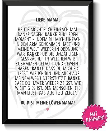 Löwenmama Bild Im Schwarzem Holz Rahmen Geschenk Geschenkidee Danke Sagen Dankeschön Mama Mutter