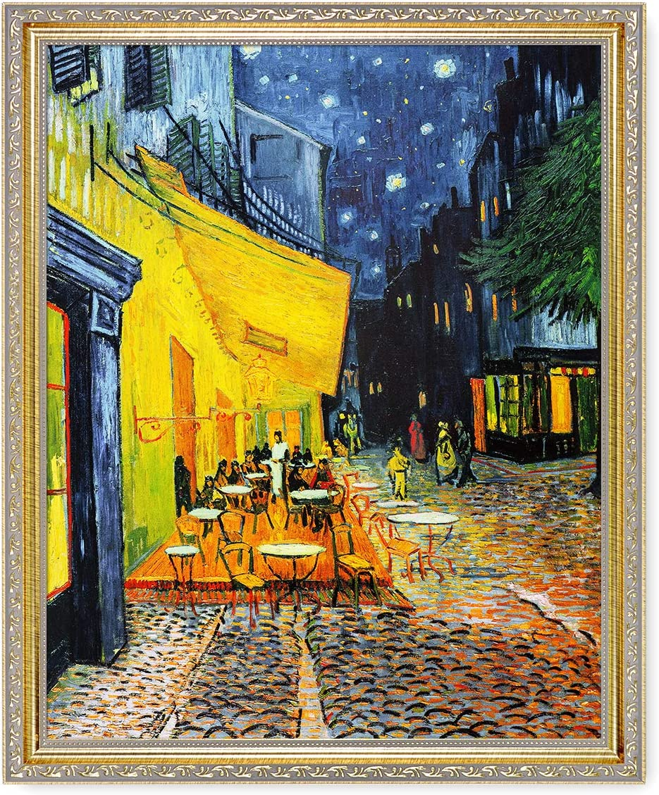 DECORARTS - 'Cafe Terrace at Night', Vincent Van Gogh Classic Art. Giclee Prints on Canvas with Matching Museum Frame for Home Decor. 16x20, Total Size: 18.5x22.5
