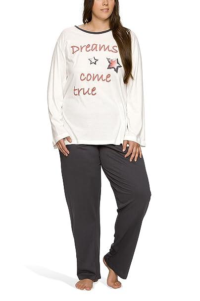 Pijama largo para mujer de talla grande Offwhite/Anthrazit X-Large