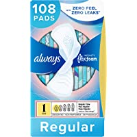 Always Infinity Size 1 Feminine Pads with Wings, Regular Absorbency, Unscented, 36 Count - Pack of 3 (108 Total Count) (Packaging May Vary)
