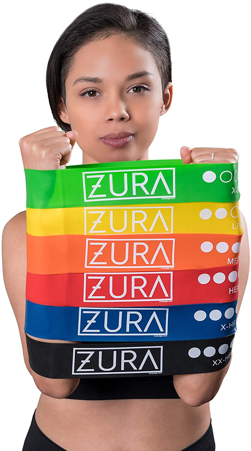 Set of 6 12-Inch Loop Workout Bands for All Levels with Free Bag ZURA Yoga Resistance Bands for Exercise Fitness