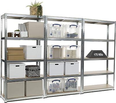 Racking Solutions 3 unit/és de rayonnage // /étag/ères garage Galvanis/é + Livraison Gratuite 5/niveaux 1800mm H x 900mm L x 400mm P charges lourdes capacit/é de charge totale 2625kg