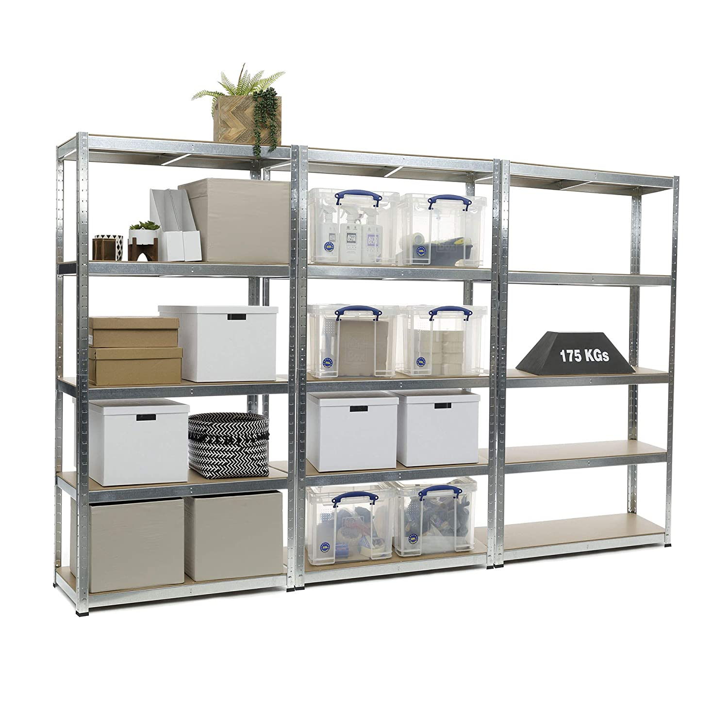 3 Bay Heavy Duty Galvanised Shelving Garage Racking Unit 175kg per shelf (5 Levels 1800mm H x 900mm W x 400mm D)+ FREE NEXT DAY DELIVERY Racking Solutions