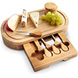 VonShef Oval Slide Out Bamboo Cheese Board and 4 Piece Knife Set, 14 x 8 inches approx