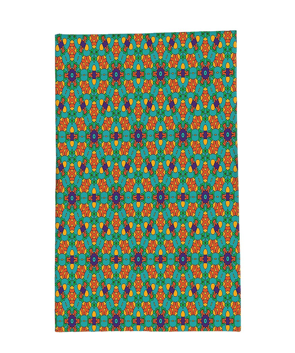 Interestlee Fleece Throw Blanket Orange Decor India Ethnic Design Lovers Floral Print Fern Green Marigold and Navy Blue