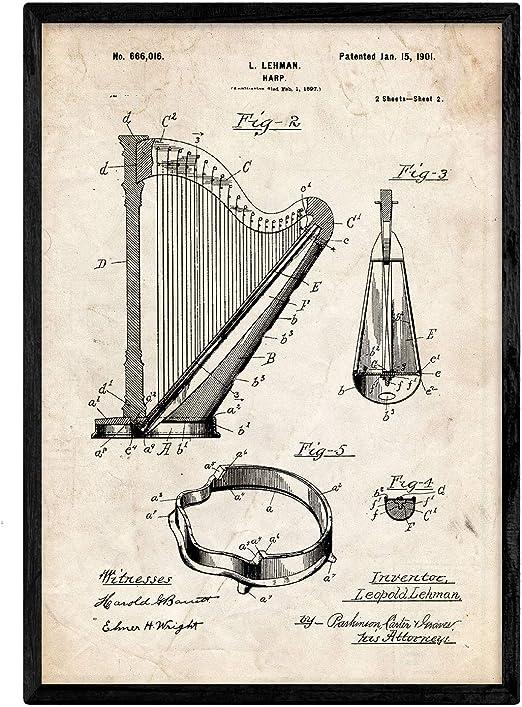 Nacnic Poster con patente de Arpa 2. Lámina con diseño de patente ...