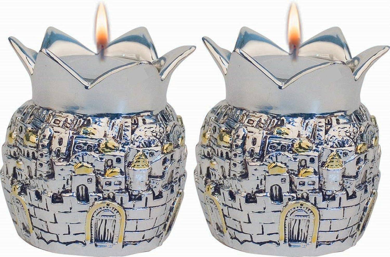 TALISMAN4U Silver Plated Shabbat Candles Holders Pomegranates Candlesticks Jerusalem Design Set of 2 Judaica Gift