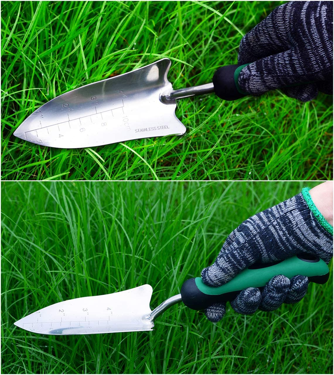 Heavy Duty Polished Stainless Steel,BES for Transplanting Depth Marker Measurements Weeding Moving and Smoothing Digging /& Planting Soft Power Garden Trowel Ergonomic