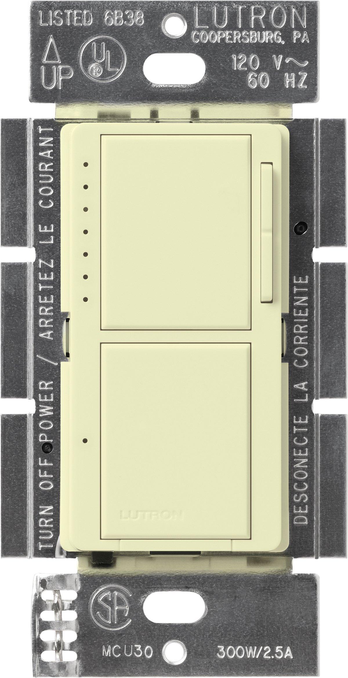 Lutron MA-L3S25-AL Maestro 300 Watt Single-Pole Dual Dimmer and Switch, Almond