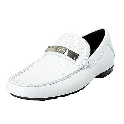 16c2b56309f Amazon.com  Versace Gianni Men s White Moccasins Loafers Slip On ...