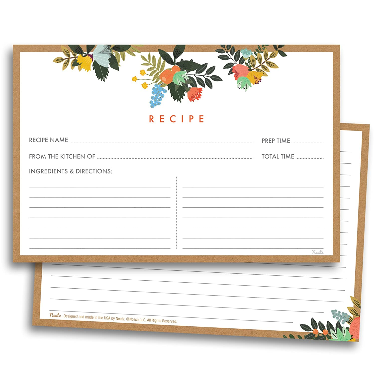 Floral Recipe Cards 50 Double Sided Cards 4x6 inches Thick Card Stock