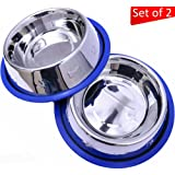 Amazon Price History for:Mr. Peanut's Set of 2 Etched Stainless Steel Dog Bowls, Easy to Clean, Bacteria & Rust Resistant, with Non-Skid No-Tip Silicone Ring, Feeding Bowls for Dogs